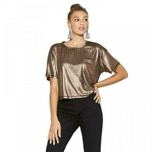 Wild Fable Plus Size Bronze Metallic Crop Top